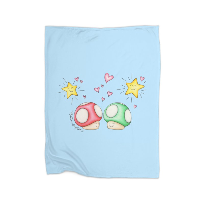 Mushroom Love Home Fleece Blanket Blanket by MelJo JoJo's Artist Shop
