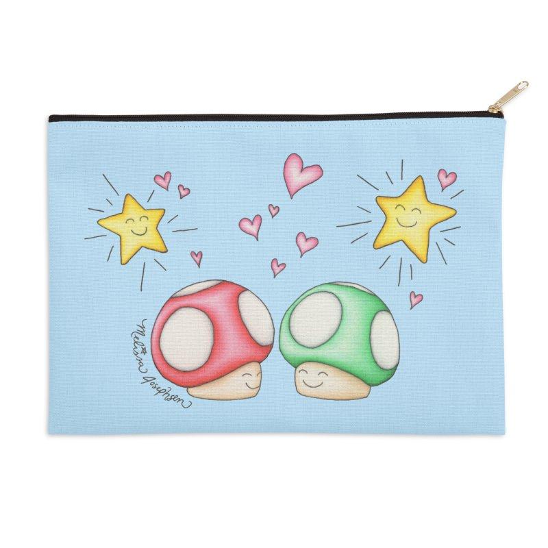 Mushroom Love Accessories Zip Pouch by MelJo JoJo's Artist Shop