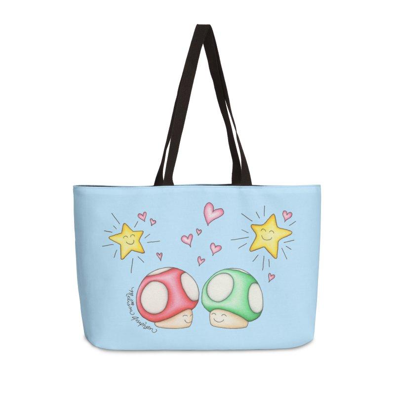 Mushroom Love Accessories Weekender Bag Bag by MelJo JoJo's Artist Shop