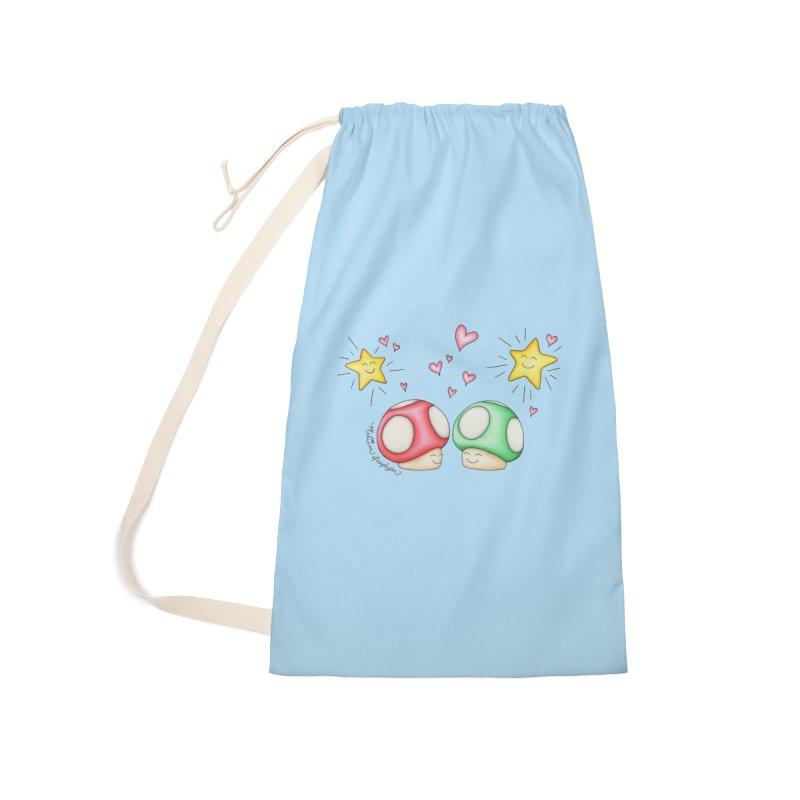 Mushroom Love Accessories Laundry Bag Bag by MelJo JoJo's Artist Shop