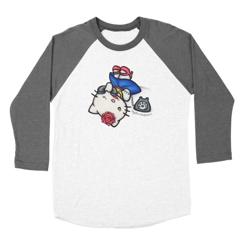 Salutations Kitty Men's Baseball Triblend Longsleeve T-Shirt by MelJo JoJo's Artist Shop