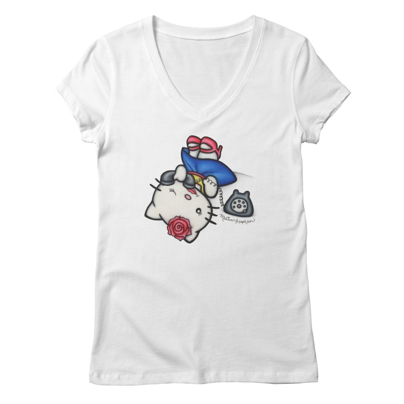 Salutations Kitty Women's V-Neck by MelJo JoJo's Artist Shop