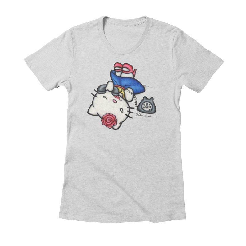 Salutations Kitty Women's Fitted T-Shirt by MelJo JoJo's Artist Shop