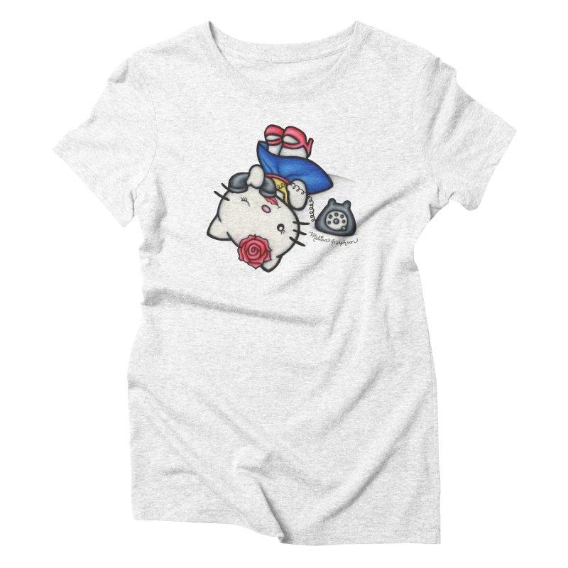 Salutations Kitty Women's Triblend T-shirt by MelJo JoJo's Artist Shop