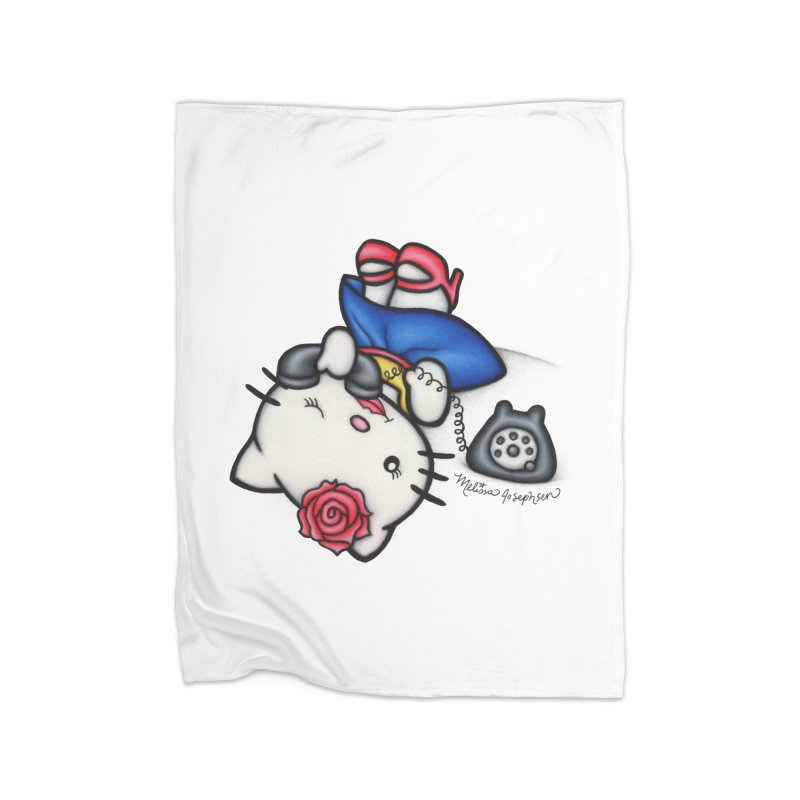 Salutations Kitty Home Fleece Blanket Blanket by MelJo JoJo's Artist Shop