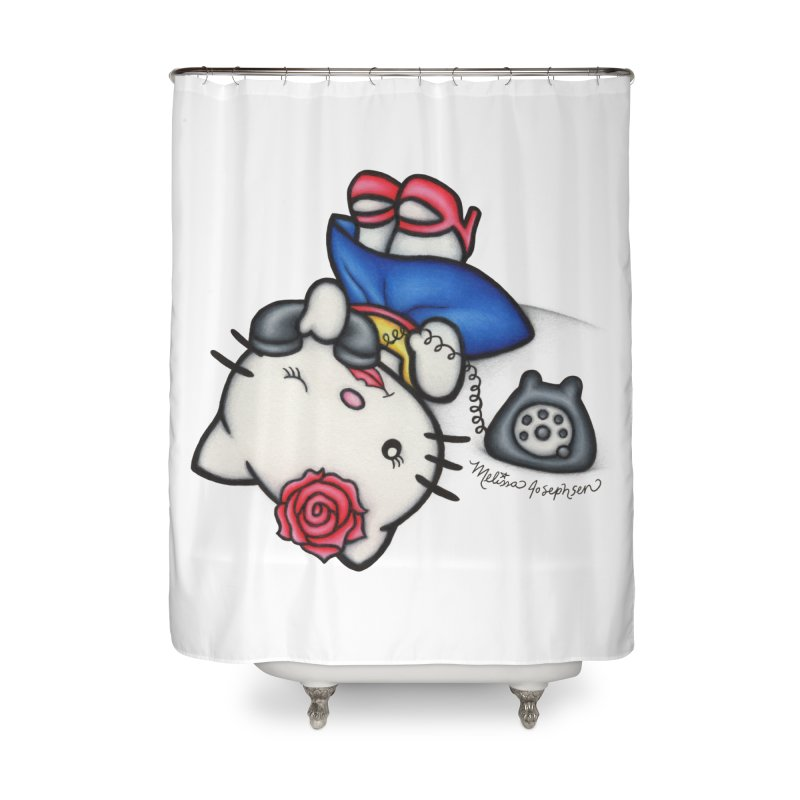 Salutations Kitty Home Shower Curtain by MelJo JoJo's Artist Shop