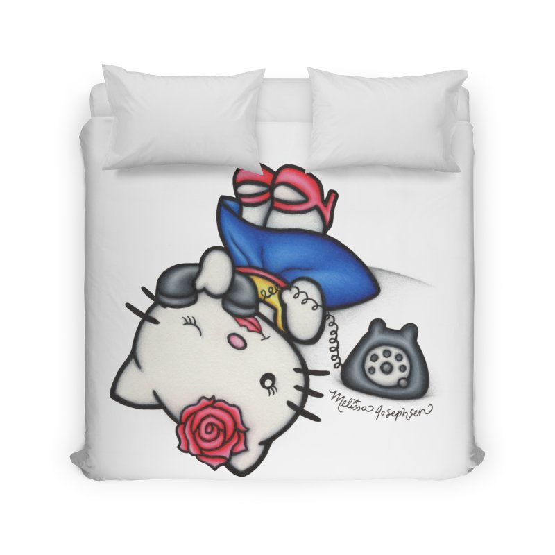 Salutations Kitty Home Duvet by MelJo JoJo's Artist Shop