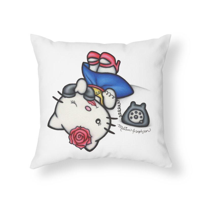 Salutations Kitty Home Throw Pillow by MelJo JoJo's Artist Shop