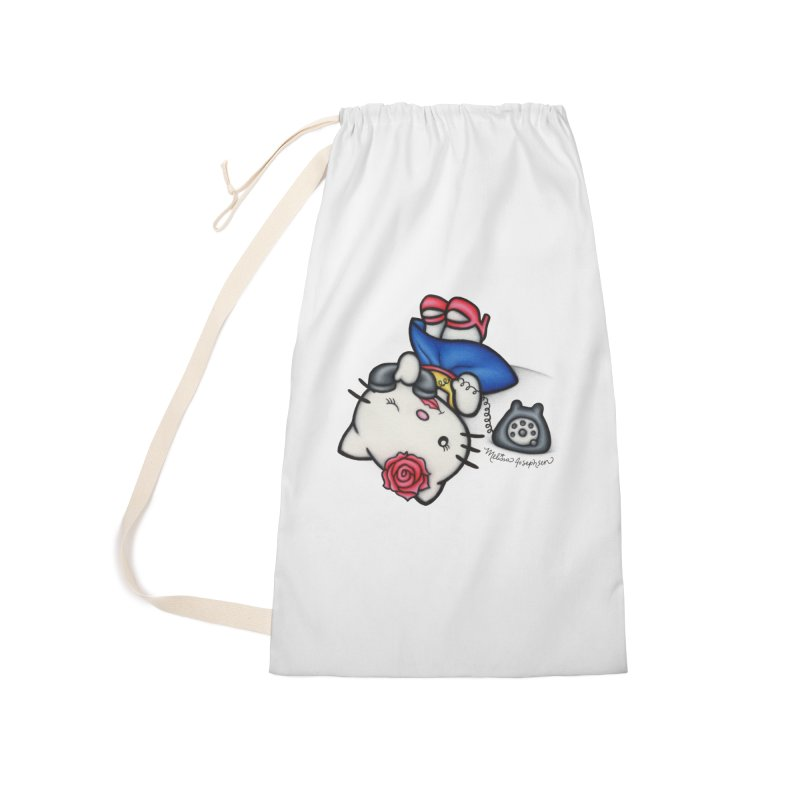 Salutations Kitty Accessories Laundry Bag Bag by MelJo JoJo's Artist Shop