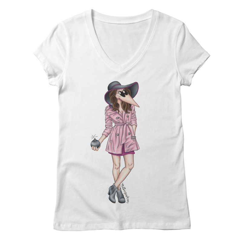 Girly Spy Women's V-Neck by MelJo JoJo's Artist Shop