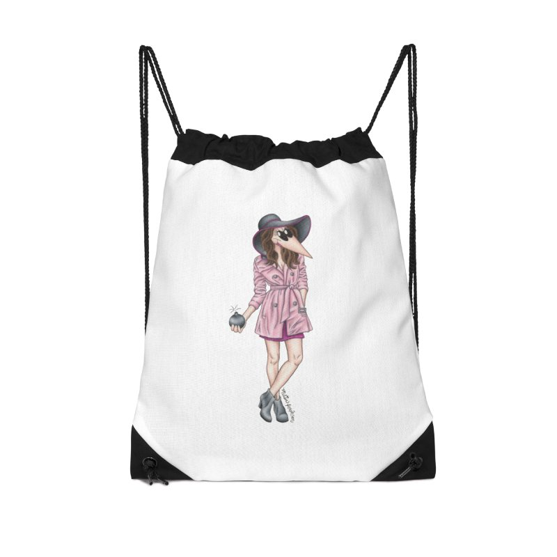 Girly Spy Accessories Drawstring Bag Bag by MelJo JoJo's Artist Shop