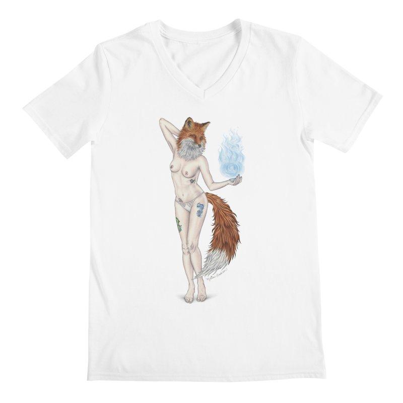 Sparkle Fox Men's V-Neck by MelJo JoJo's Artist Shop