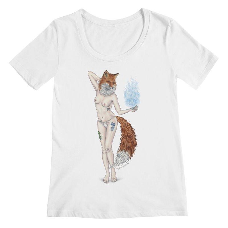 Sparkle Fox Women's Scoopneck by MelJo JoJo's Artist Shop