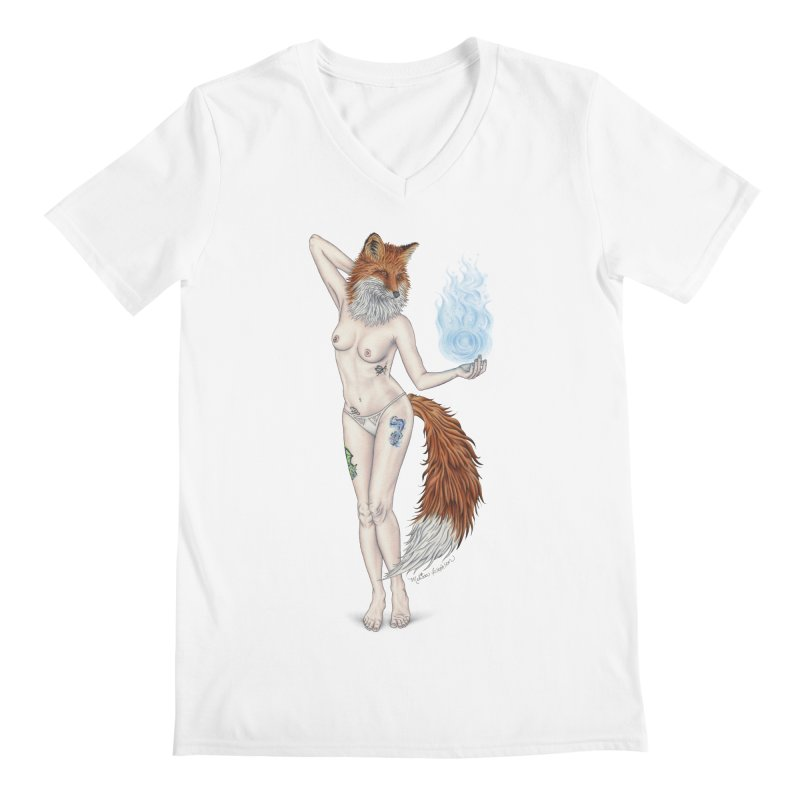 Sparkle Fox Men's V-Neck by MelJo JoJo's Artist Shop