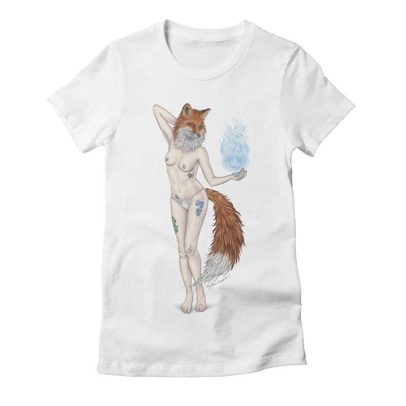 Sparkle Fox Women's Fitted T-Shirt by MelJo JoJo's Artist Shop