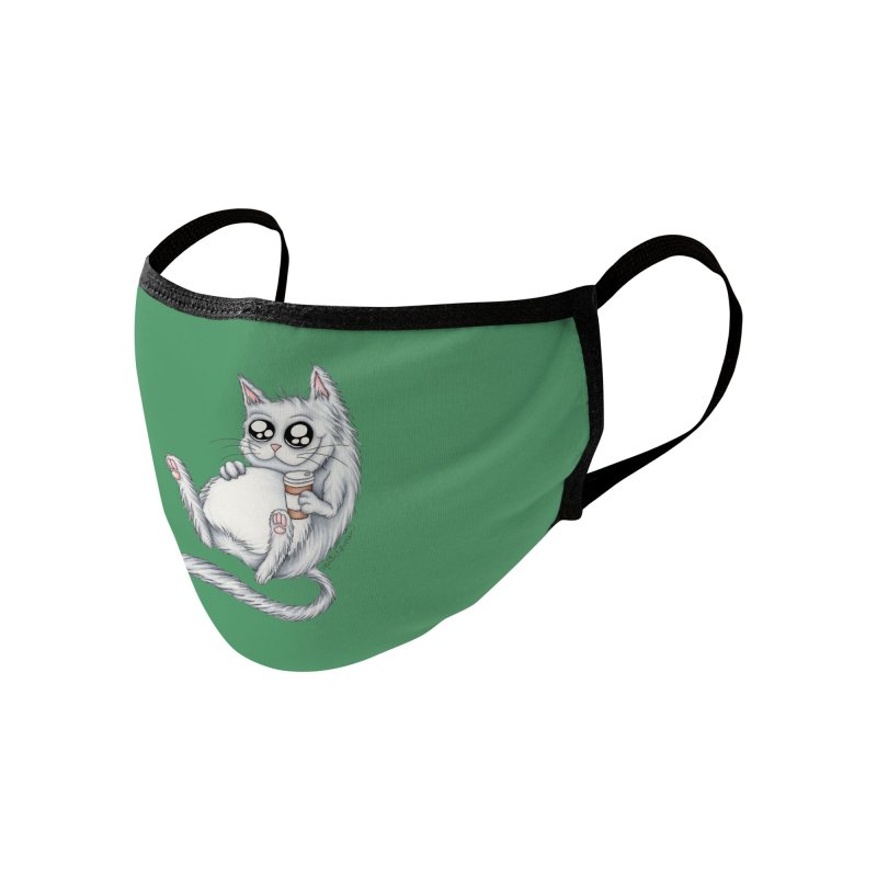 Caffeine Crazy Kitty Accessories Face Mask by MelJo JoJo's Artist Shop