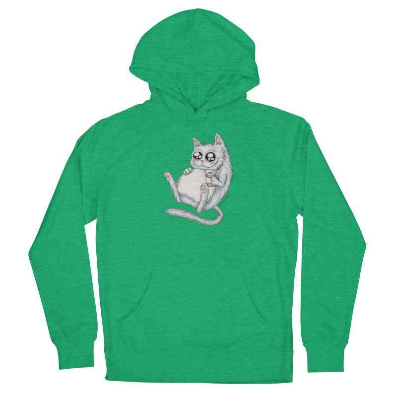 Caffeine Crazy Kitty Men's French Terry Pullover Hoody by MelJo JoJo's Artist Shop