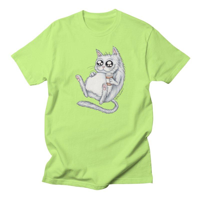 Caffeine Crazy Kitty Men's Regular T-Shirt by MelJo JoJo's Artist Shop