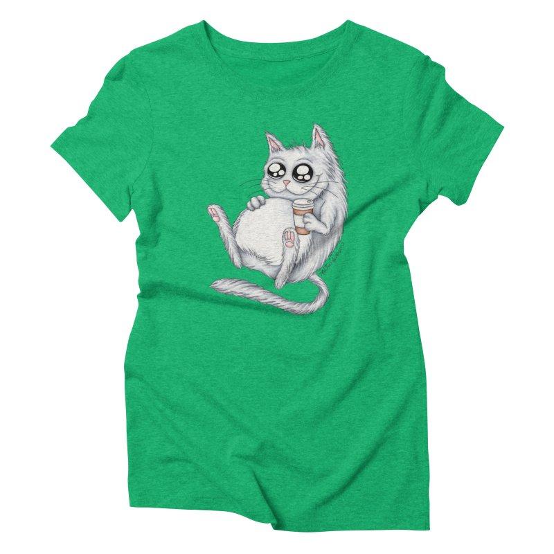 Caffeine Crazy Kitty Women's T-Shirt by MelJo JoJo's Artist Shop