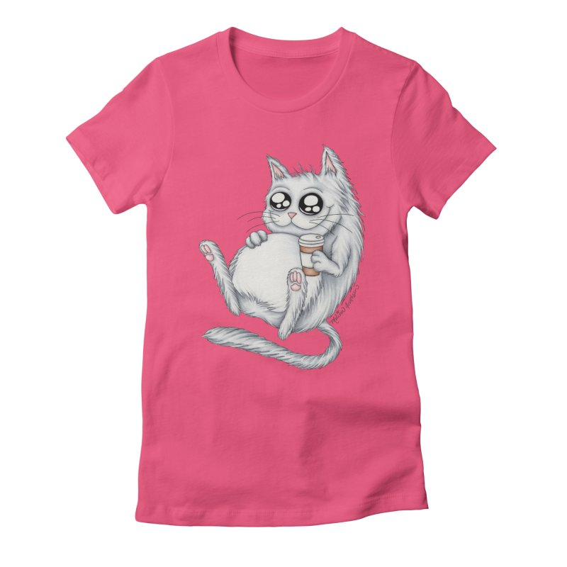 Caffeine Crazy Kitty Women's Fitted T-Shirt by MelJo JoJo's Artist Shop