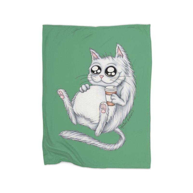 Caffeine Crazy Kitty Home Blanket by MelJo JoJo's Artist Shop