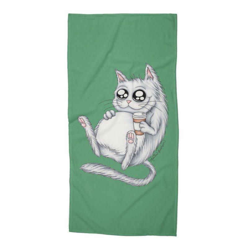 Caffeine Crazy Kitty Accessories Beach Towel by MelJo JoJo's Artist Shop
