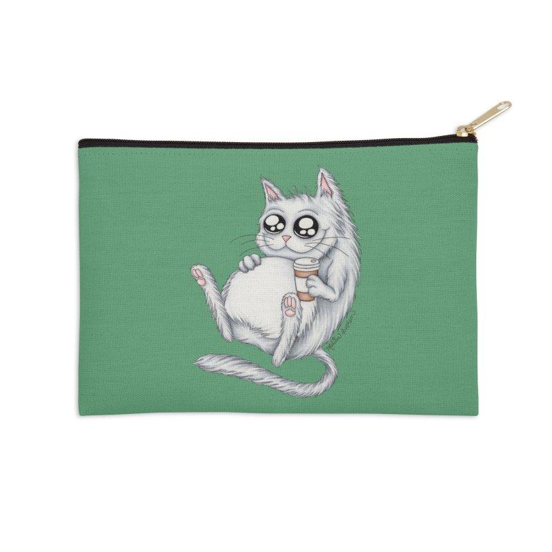 Caffeine Crazy Kitty Accessories Zip Pouch by MelJo JoJo's Artist Shop