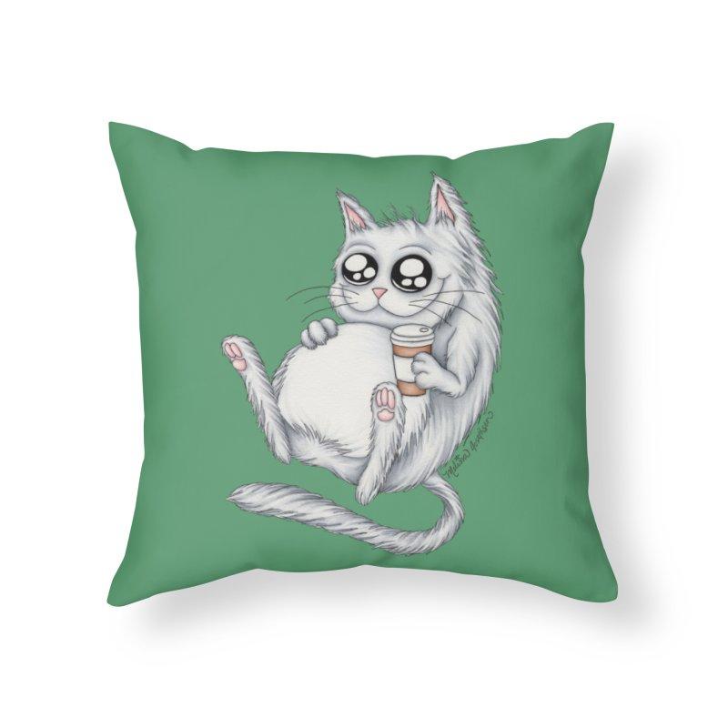 Caffeine Crazy Kitty in Throw Pillow by MelJo JoJo's Artist Shop