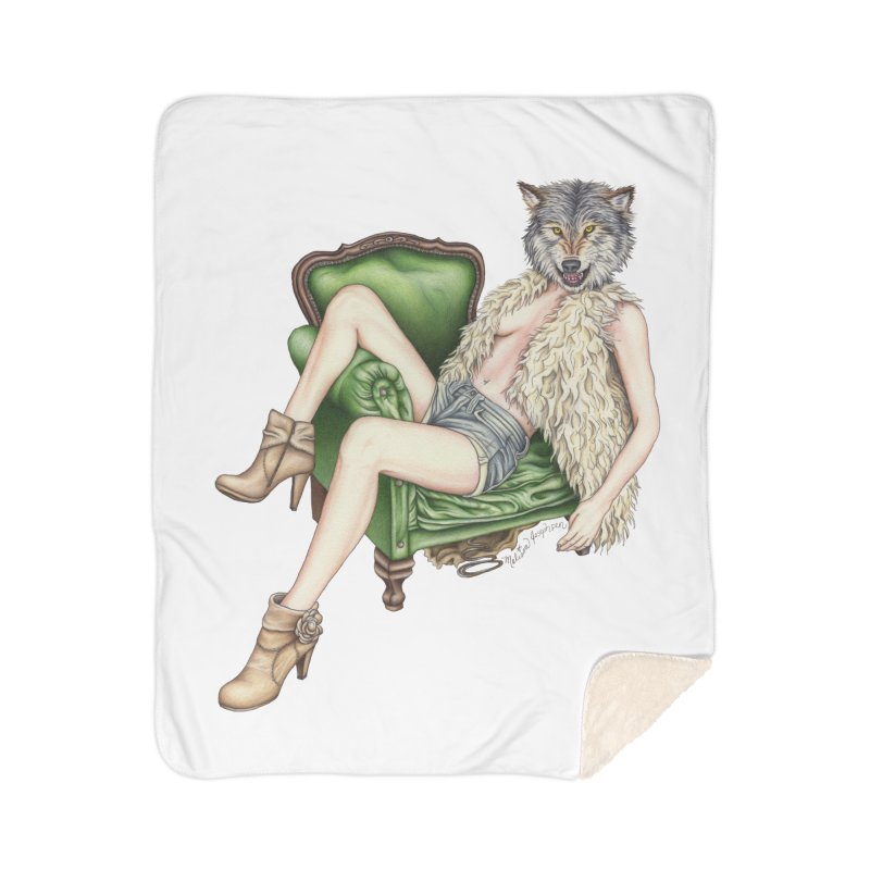 Of Wolf and Woman Home Blanket by MelJo JoJo's Artist Shop