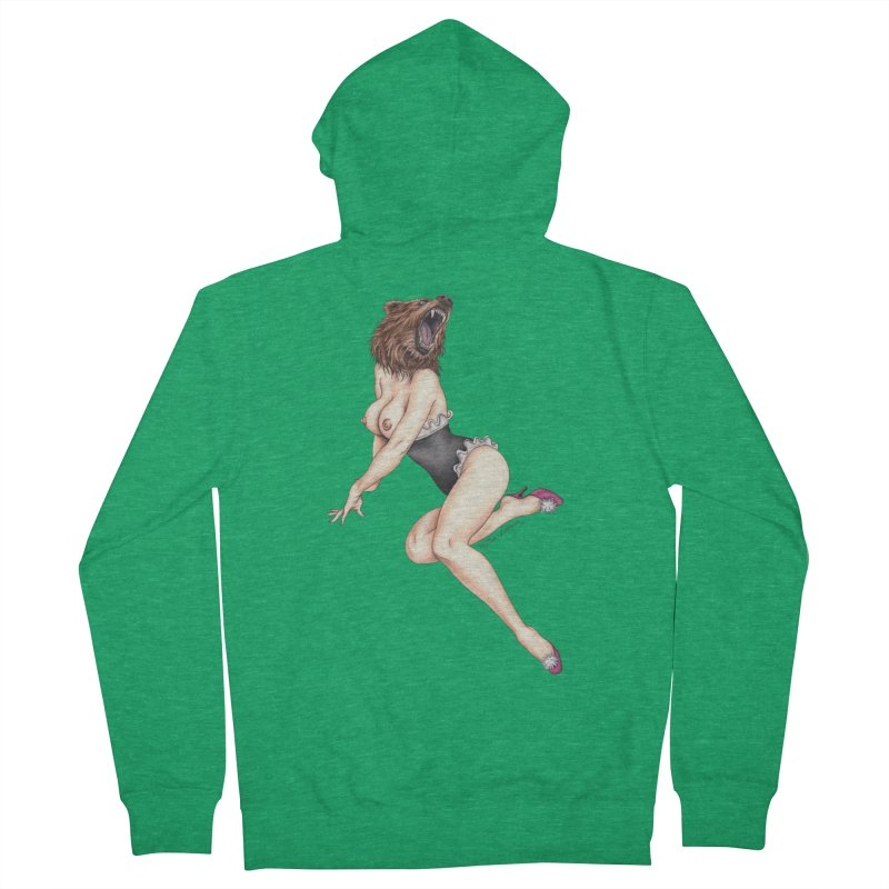 The Bear Naked Lady Men's French Terry Zip-Up Hoody by MelJo JoJo's Artist Shop