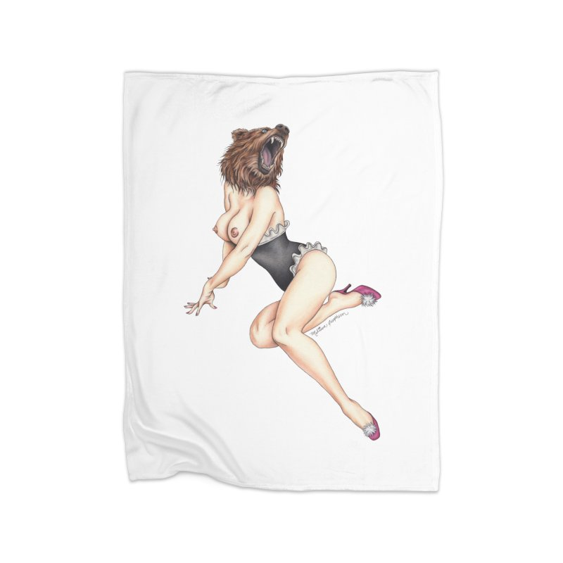 The Bear Naked Lady Home Blanket by MelJo JoJo's Artist Shop