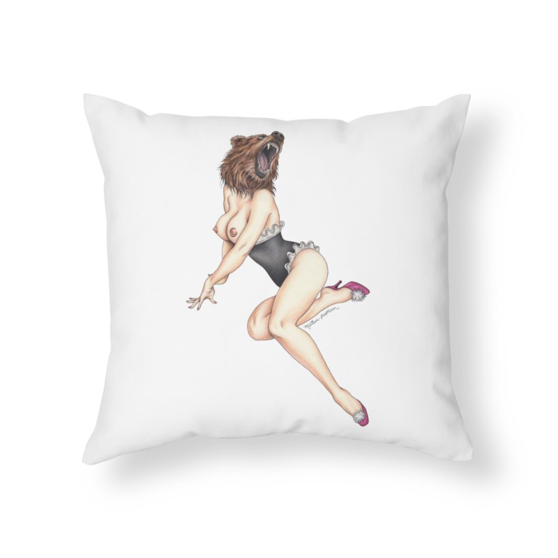 The Bear Naked Lady Home Throw Pillow by MelJo JoJo's Artist Shop