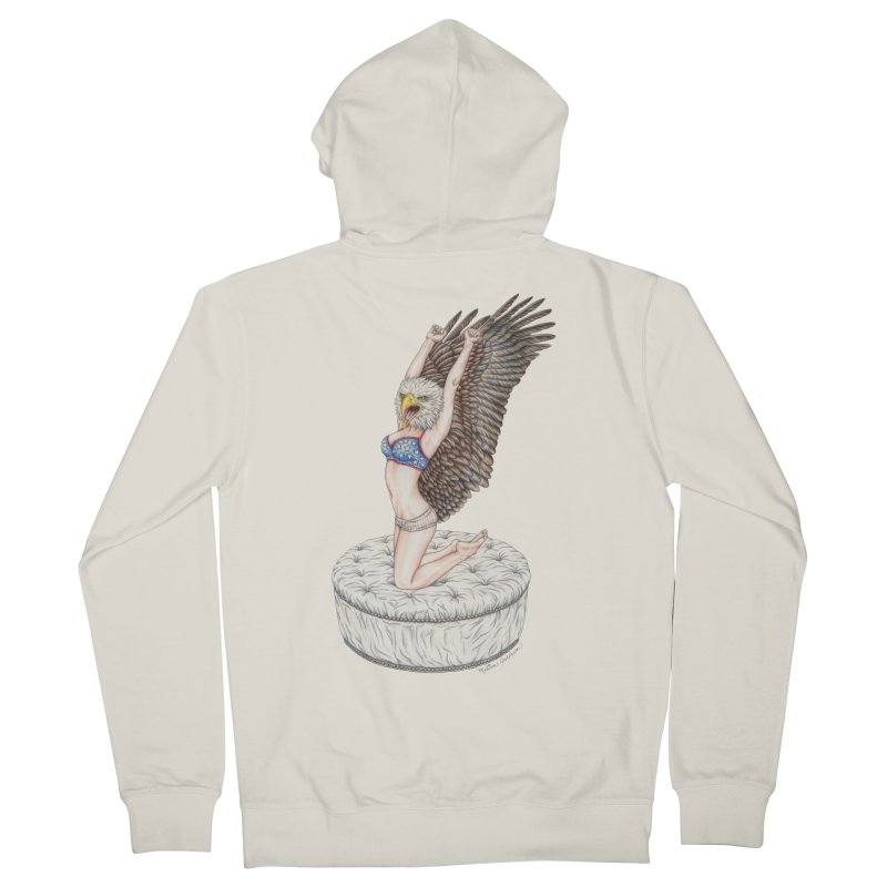American Woman Men's French Terry Zip-Up Hoody by MelJo JoJo's Artist Shop