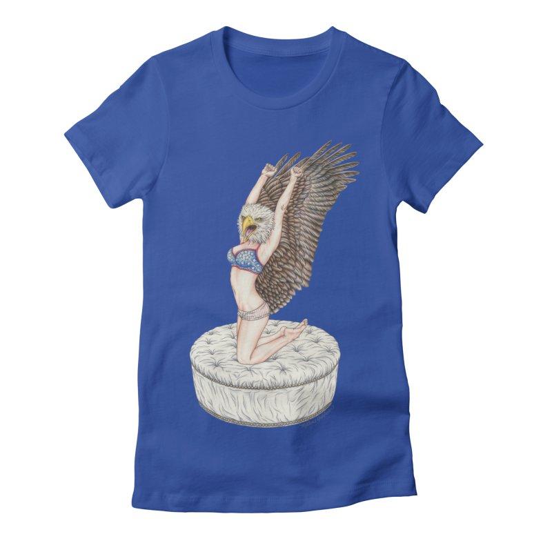 American Woman Women's Fitted T-Shirt by MelJo JoJo's Artist Shop