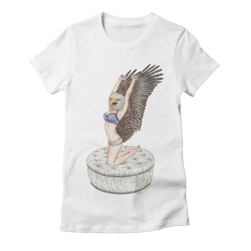 American Woman Women's Fitted T-Shirt by MelJo JoJo's Artist Shop