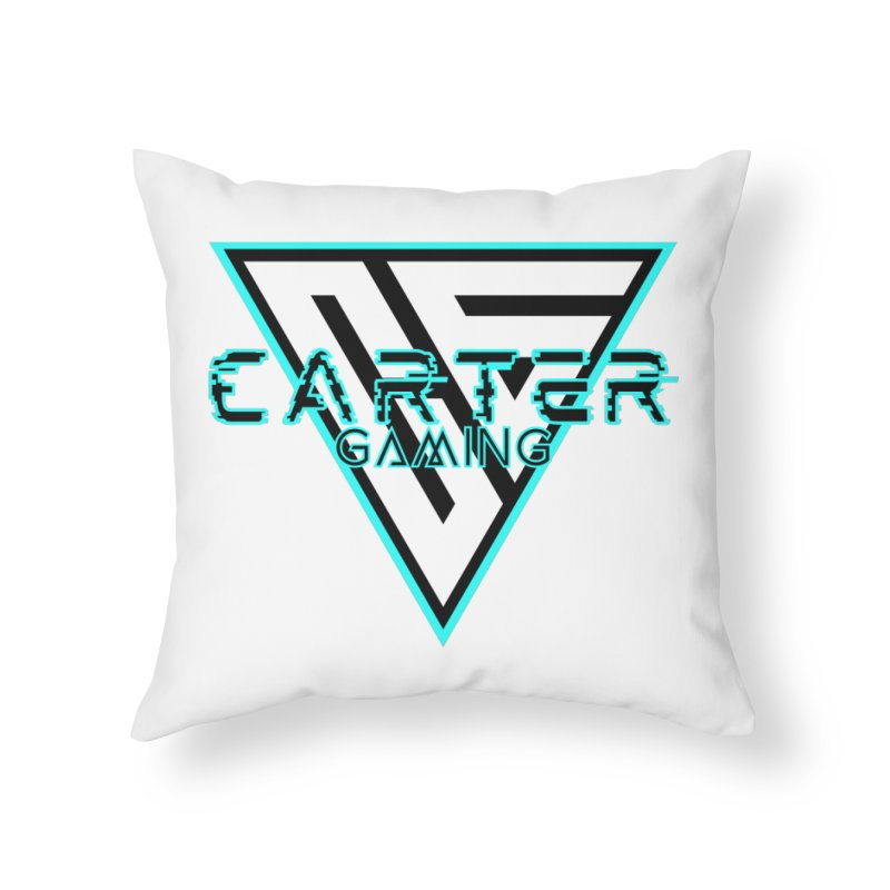 Carter Gaming   Teal Home Throw Pillow by MELOGRAPHICS