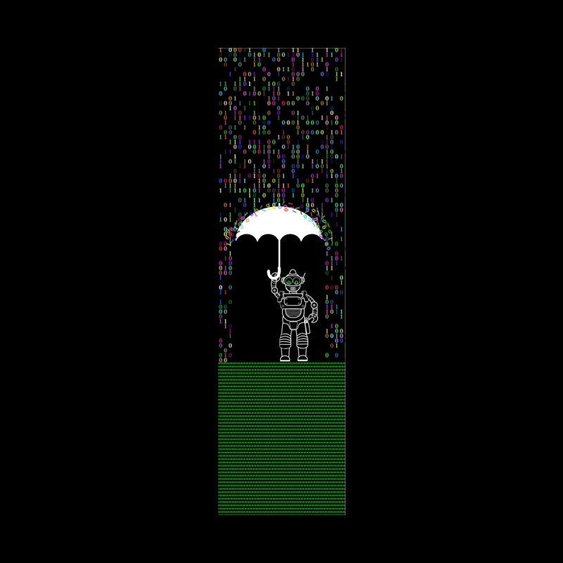 Binary Rainy | Robot Umbrella Accessories Skateboard by MELOGRAPHICS