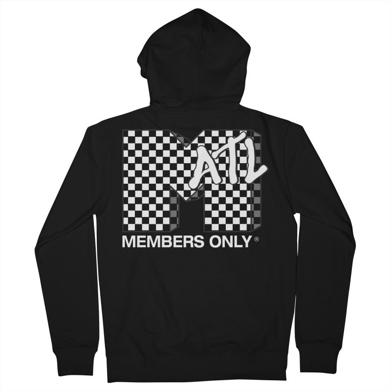 I Want My Members Only Checker White Men's French Terry Zip-Up Hoody by Members Only ATL Artist Shop