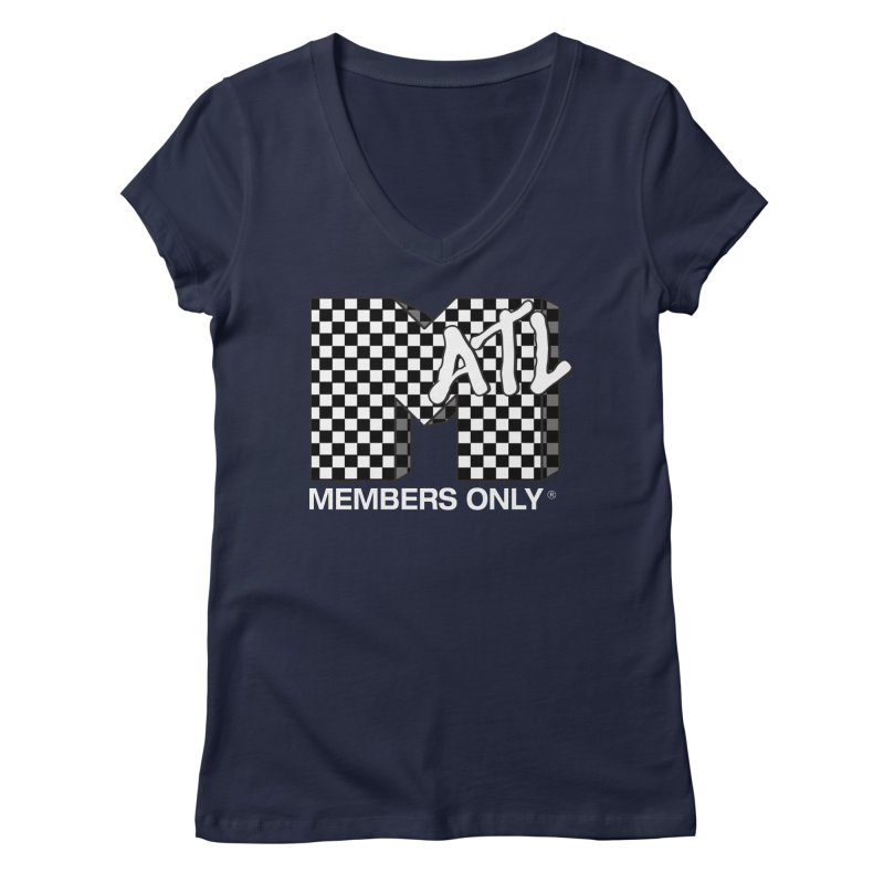 I Want My Members Only Checker White Women's Regular V-Neck by Members Only ATL Artist Shop