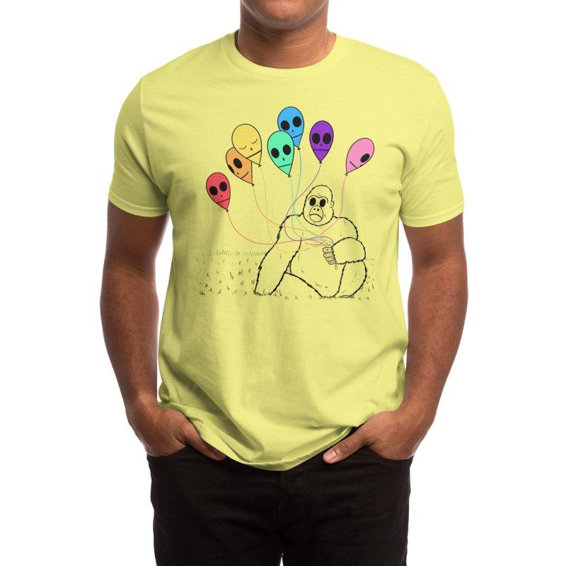 Gorilla with Rainbow Balloons Men's T-Shirt by Memento Mori Lab