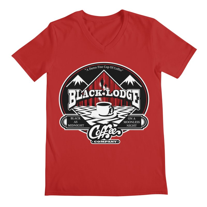 Black Lodge Coffee Company Men's V-Neck by Designs By Mephias