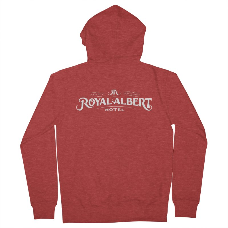 Royal Albert White Logo in Men's French Terry Zip-Up Hoody Heather Red by merchhawker's Artist Shop