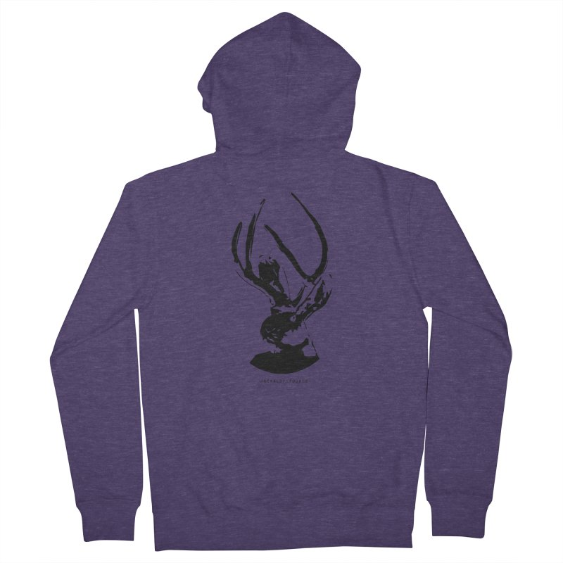Jackalope Logo Black Men's French Terry Zip-Up Hoody by merchhawker's Artist Shop