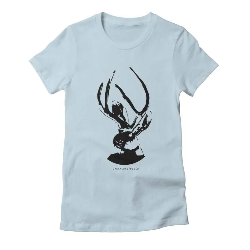 Jackalope Logo Black Women's Fitted T-Shirt by merchhawker's Artist Shop