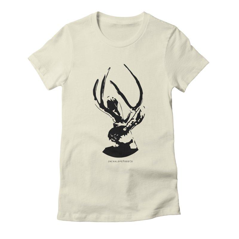 Jackalope Logo Black Women's Fitted T-Shirt by merchhawker's Artist Shop