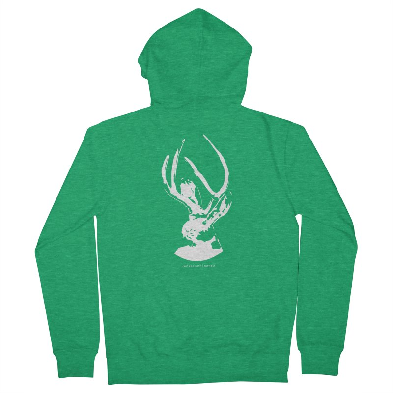 Jackalope Logo White Men's Zip-Up Hoody by merchhawker's Artist Shop