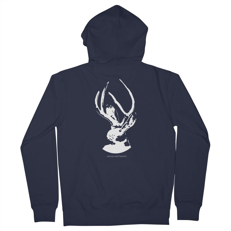 Jackalope Logo White Women's Zip-Up Hoody by merchhawker's Artist Shop