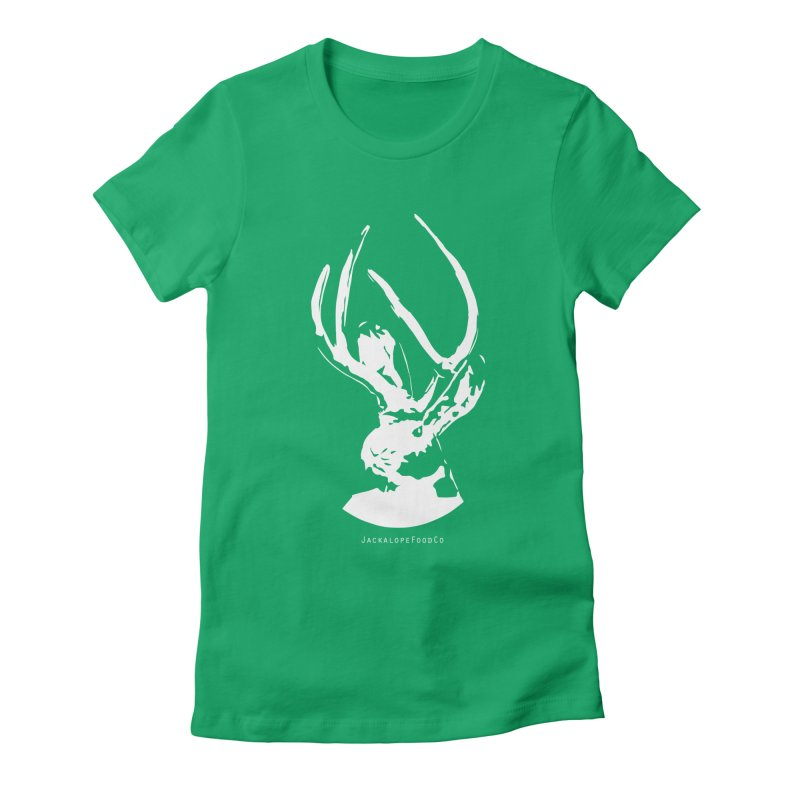 Jackalope Logo White in Women's Fitted T-Shirt Kelly by merchhawker's Artist Shop