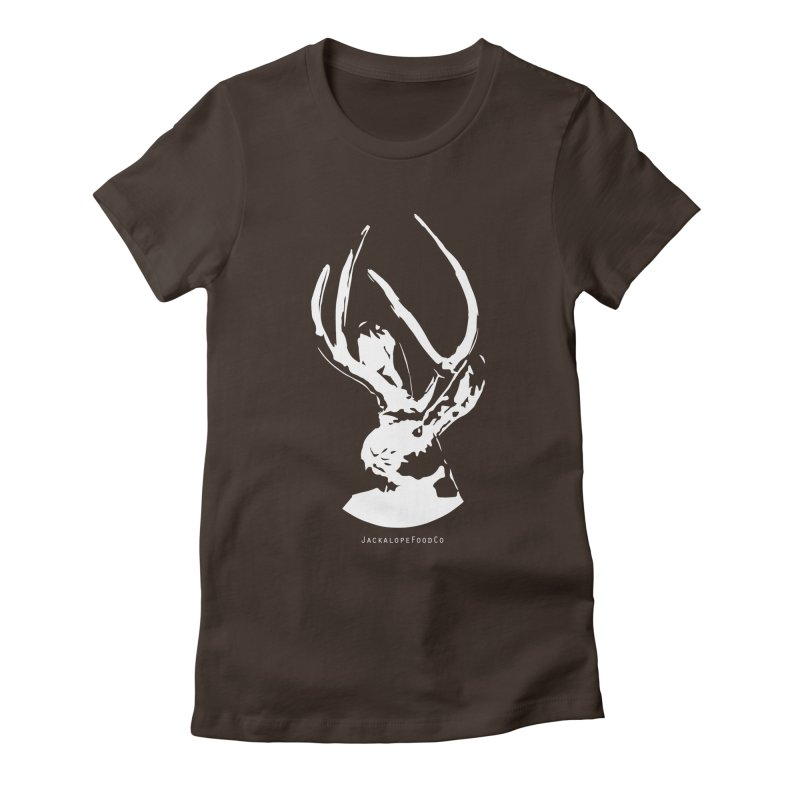 Jackalope Logo White Women's Fitted T-Shirt by merchhawker's Artist Shop