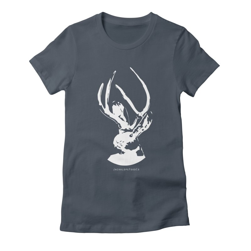 Jackalope Logo White Women's Fitted T-Shirt by merchhawker's Artist Shop